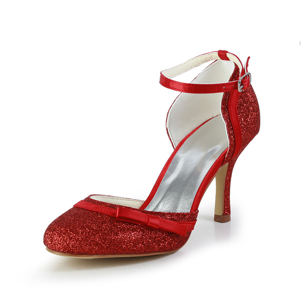 Sparkly Red Bridal Shoes Stiletto Heels Glitter Pumps Formal Shoes ...