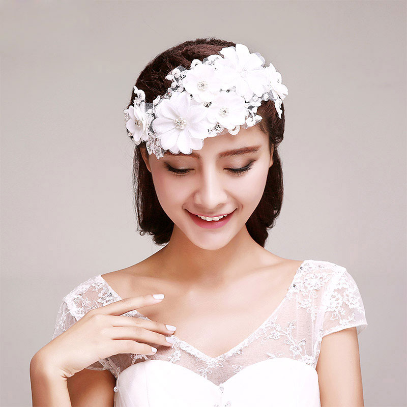 Flower Wedding Headpieces: Rhinestone Petal Bridal Headpieces / Lace Head Flower