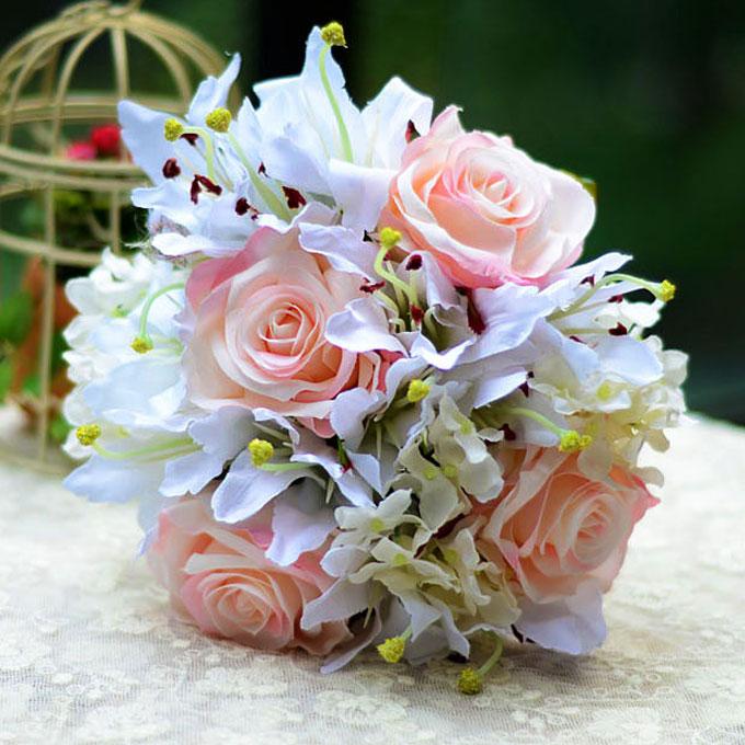 Artificial silk simulation flower bridal bouquet holding flowers lily rose hy - Bouquet de fleurs artificielles mariage ...