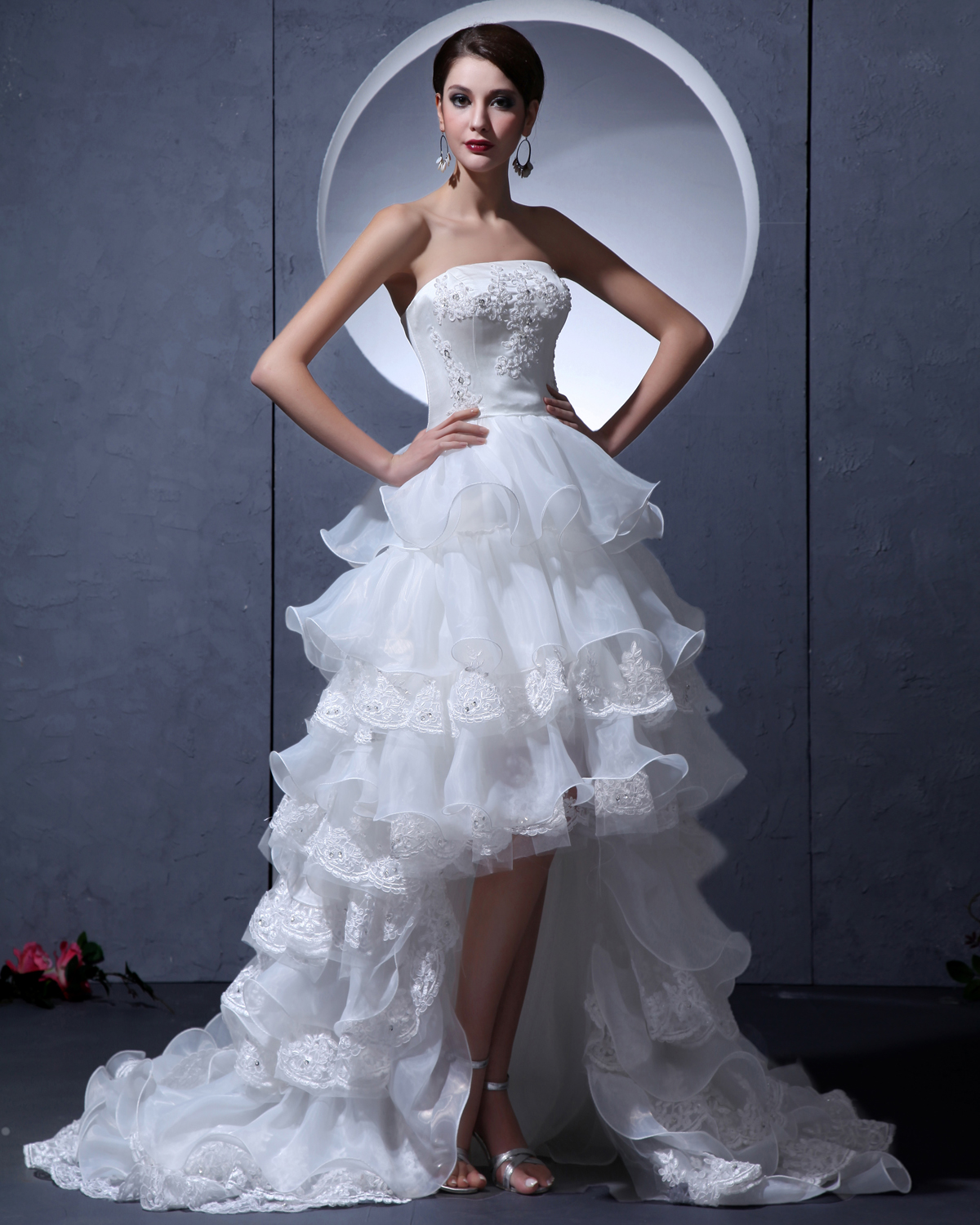 Yarn Asymmetric Strapless Ruffle Short Bridal Gown Wedding