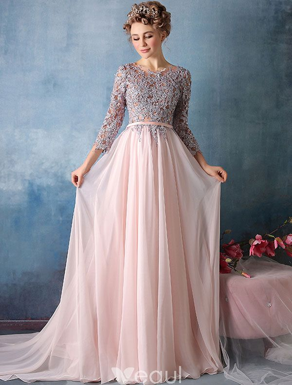 Beautiful Prom Dresses 2016 3/4 Sleeves Applique Lace With Sequins ...