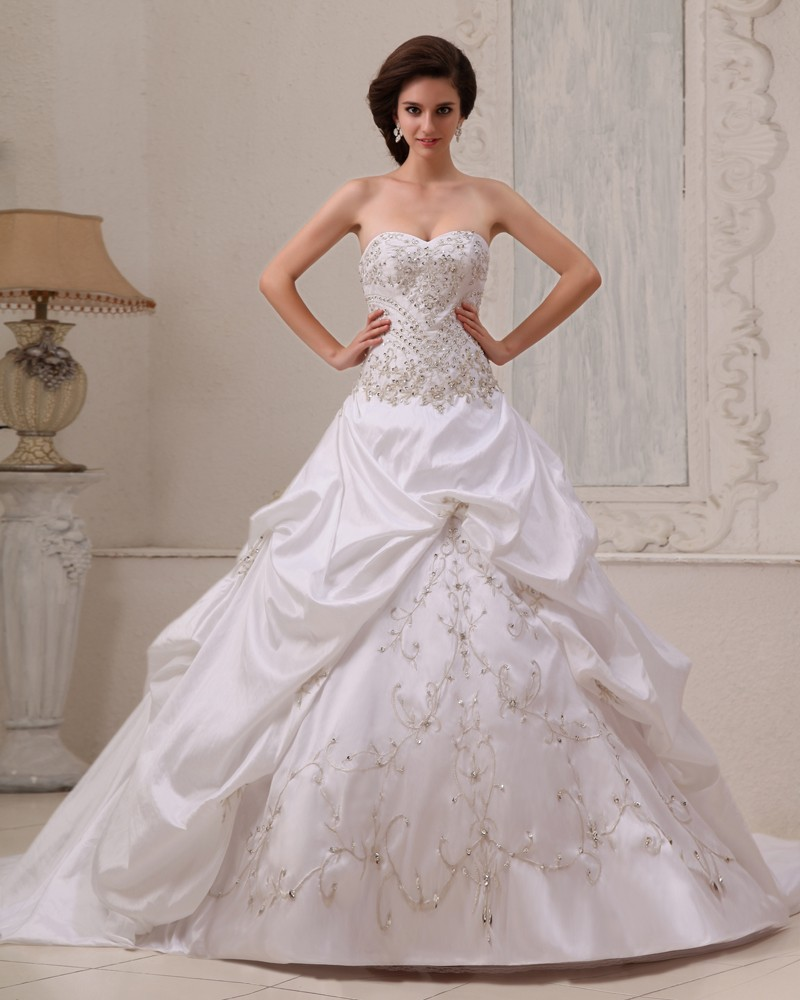 Stylish satin beading ruffle ball gown sweetheart a line wedding dress