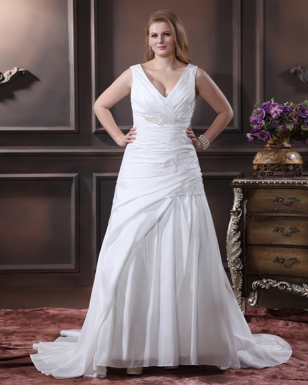 Satin perles applique v balayage de cou plus la taille for Plus la taille des robes de mariage formel