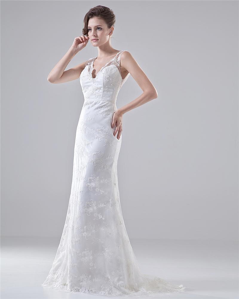 V Neck Spaghetti Straps Embroidery Floor Length Lace Sheath Wedding Dress 1414120085