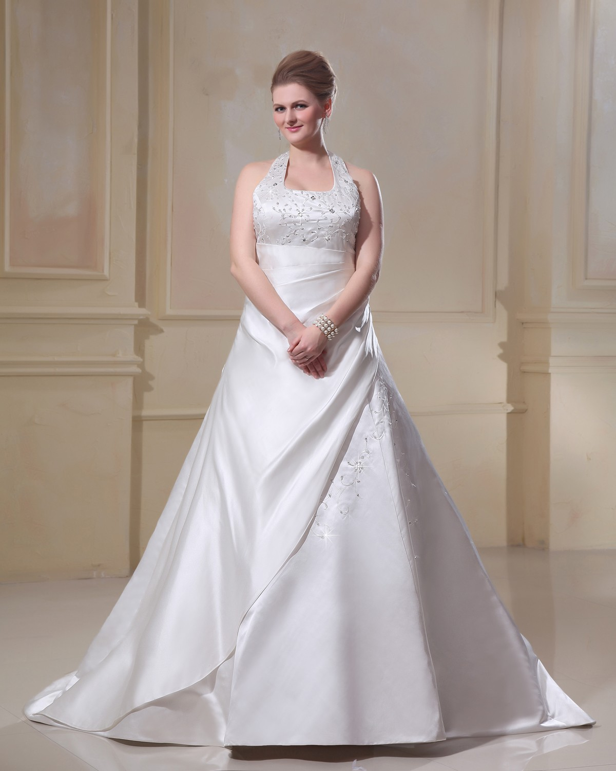 Satin embroidery scoop court plus size bridal gown wedding for Plus size silk wedding dresses