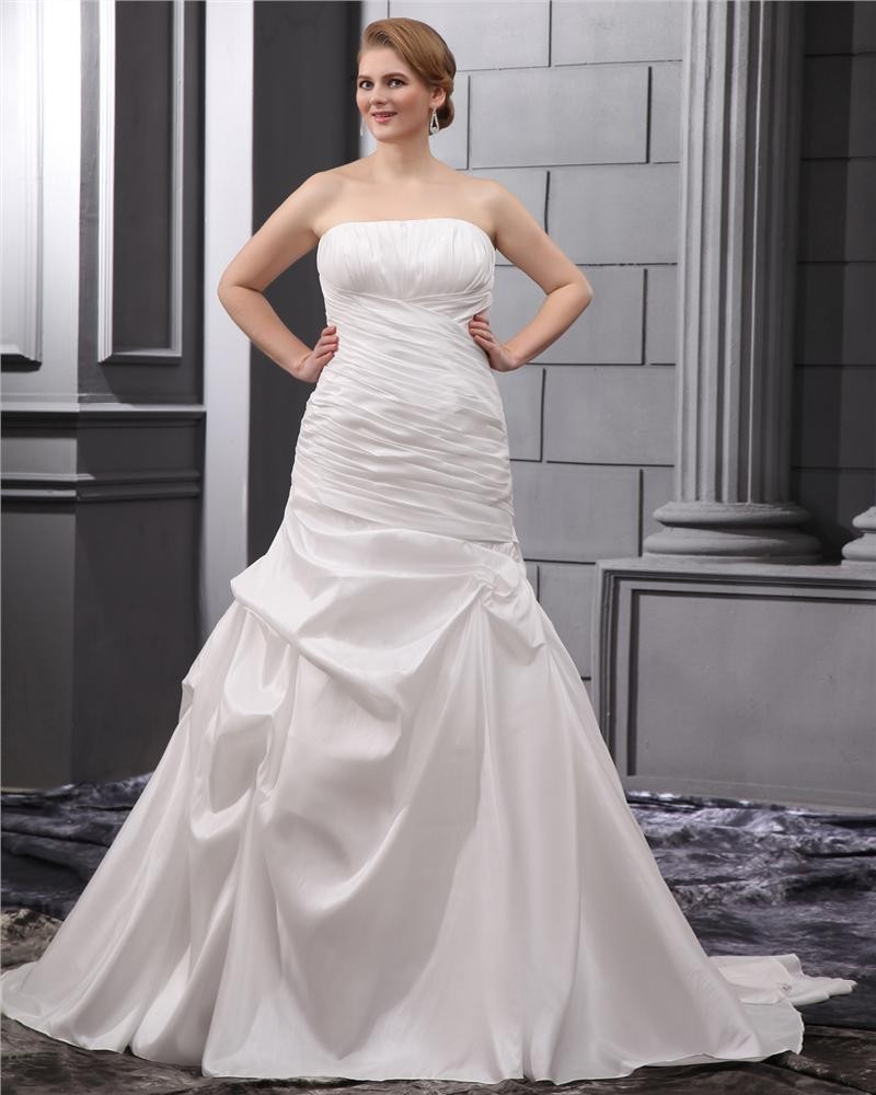 taffeta ruffle court plus size bridal gown wedding dress 1714120097