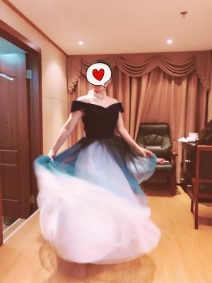 Nice gradient color prom dress