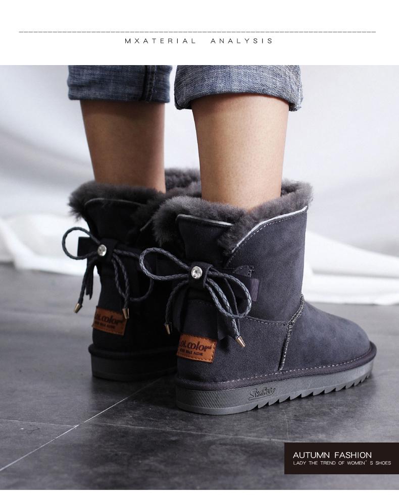 Mode Snow Boots 2017 Grå Läder Stövletter Mocka Rosett Casual Vinter Platt Stövlar Dam