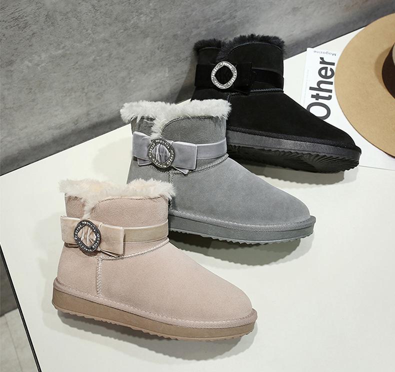 Mode Stövlar Dam 2017 Grå Läder Stövletter Mocka Casual Rosett Spänne Vinter Platt Snow Boots