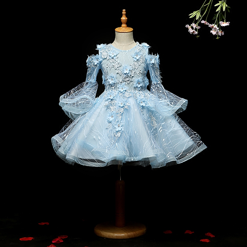 Two Pieces Lace Princess Baby Flower Girl Dresses with Long Sleeves New 2018